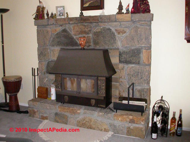 Installing a woodstove in an existing fireplace opening:  This article discusses the safety questions that arise if you are installing a wood burning stove - a woodstove - where there is an existing fireplace or an existing zero-clearance fireplace - a case giving rise to special fire clearance worries. What components of the existing fireplace are safe to use? How do we assure that the wood stove installation will be proper and safe?