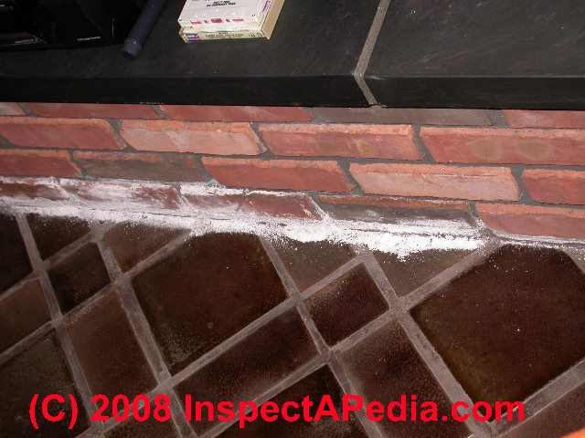 fireplace   hearth damage  cracks  settlement or collapse