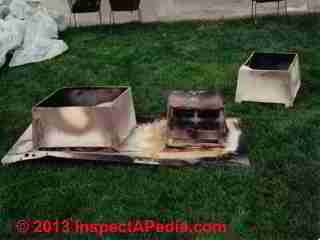 Moorpark CA chimney chase & shroud fire, fake UL label (C) InspectApedia Stephen Werner