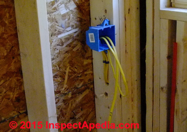 Electrical box types sizes for receptacles when wiring for Electrical wiring new construction