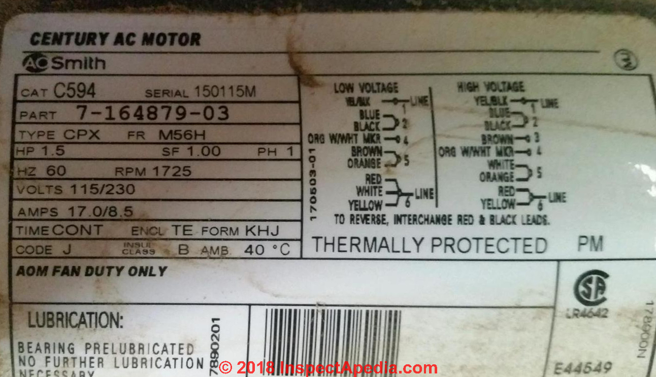 Motor data tag for an AO Smith electric motor (C) InspectApedia.com