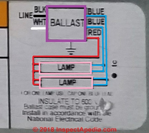 T8 Fluorescent Ballast Wiring Diagram from inspectapedia.com