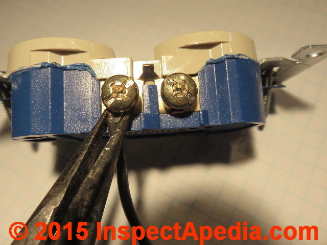 electrical outlet wire connections receptacle or wall plug wire rh inspectapedia com Wiring a Switched Outlet Electrical Outlet Wiring Diagram