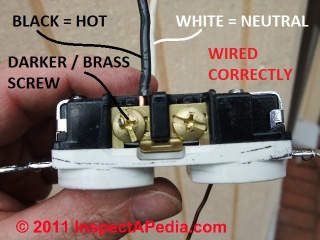 Electrical Outlet wire connections © D Friedman at InspectApedia.com
