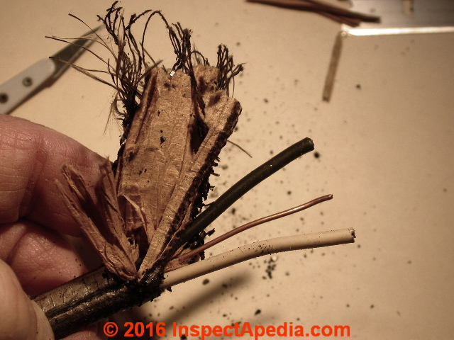 history of old electrical wiring identification photo guide rh inspectapedia com Old Cloth Wiring Romex Wire