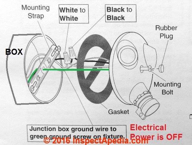 Schematic Motion Sensor Light Wiring Diagram from inspectapedia.com
