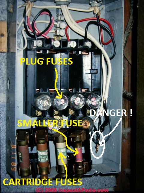 how to determine ampacity voltage at a building electrical rh inspectapedia com Electrical Switches and Fuse Boxes house electrical fuse box