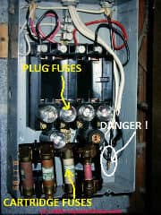 Fuse panel with improper fusing (C) Daniel Friedman