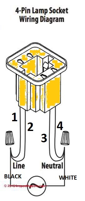 Replace a fluorescent tube G24 bulb with an LED G24 light bulbInspectAPedia.com