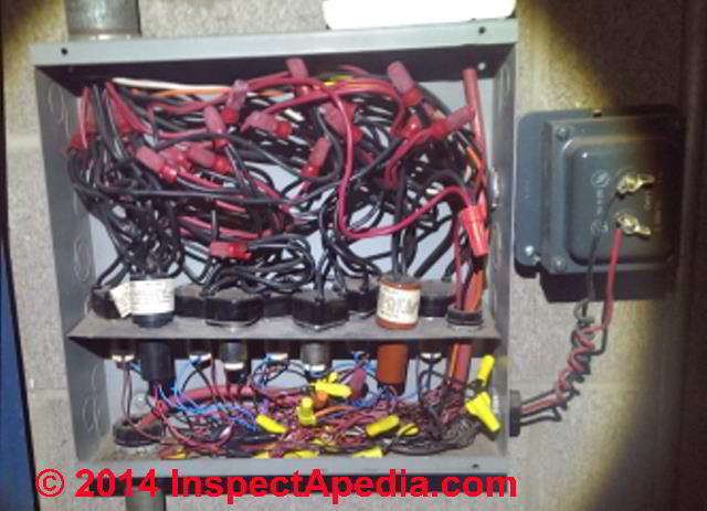 low voltage building wiring & lighting systems inspection & repair york hvac wiring diagrams ge low voltage wiring switches, relays and junction box (c) inspectapedia