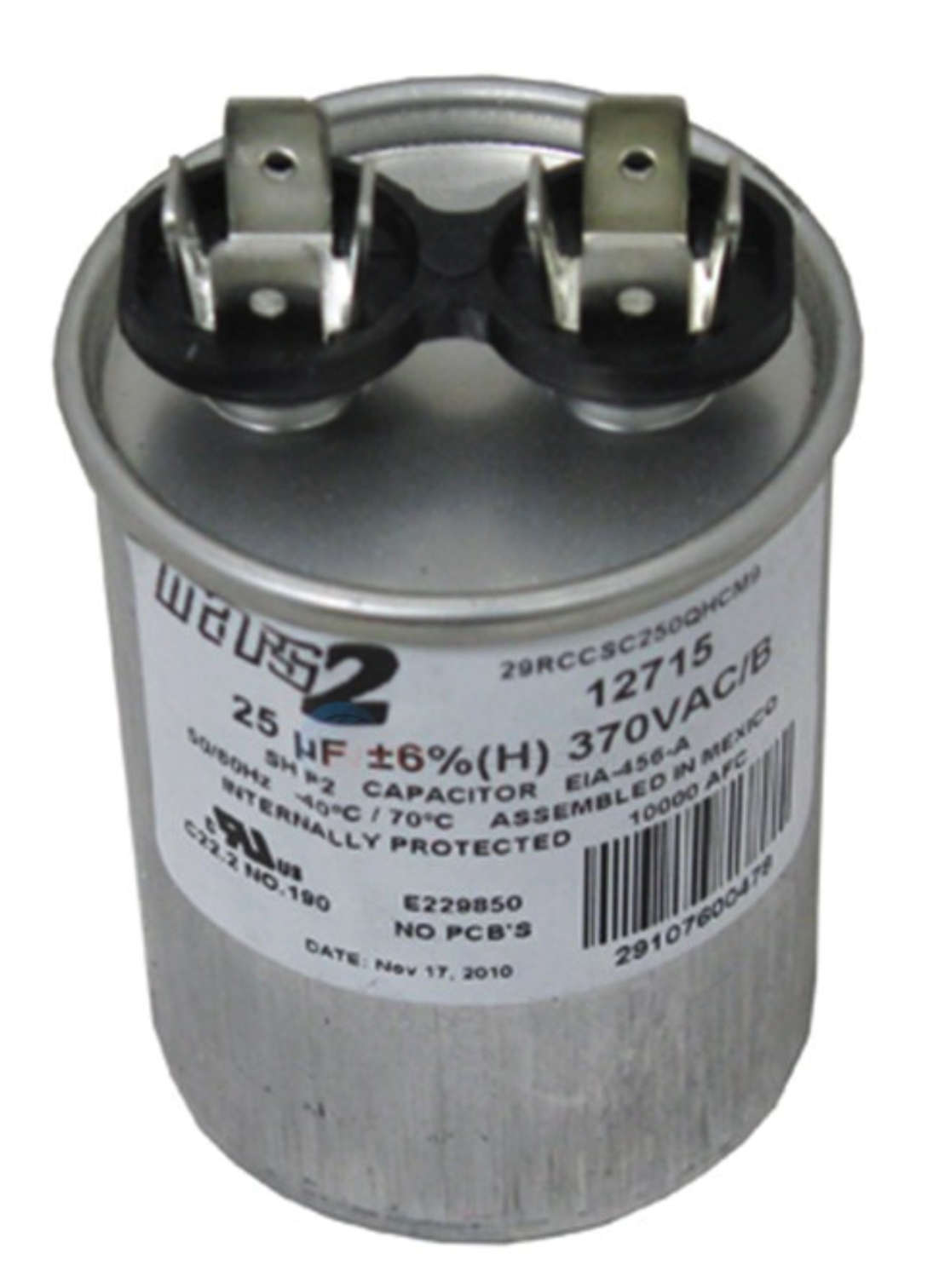 ao smith or other motor replacement capacitor 25mfd 370v - 628318-307 - at  inspectapedia