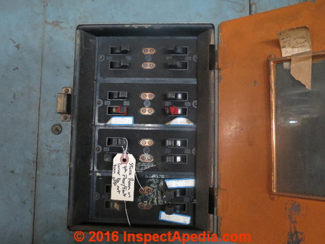 1930's electrical panel in a huntingdon pa factory building (c)  inspectapedia com lm