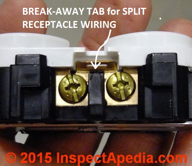 Split receptacle electrical wire connections electrical outlet wire connections when wiring a split receptacle break off this tab c publicscrutiny Images