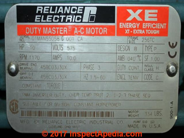 electric motor rotation direction diagnosis & repair faqs reliance electric motor 1 hp wiring diagram reliance electric duty master a c motor data tag (c) inspectapedia com