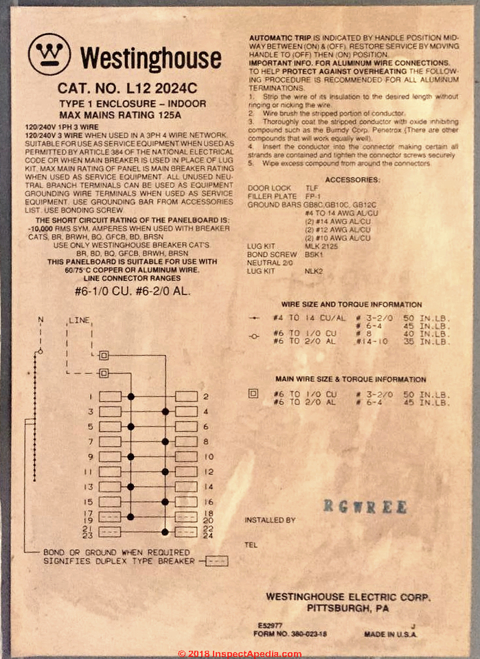 Westinghouse Panelboard Switches Wiring Diagram on