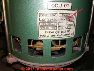 Zhang-Qiu-Hai-Er-QC.J-01-AC-Motor data tag showing start capacitor rating  (C) InspectApedia.com