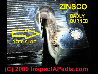 Zinsco circuit breaker close-up showing bus connection (C) Daniel Friedman