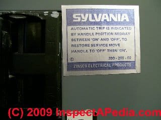 Zinsco Sylvania GTE identifying Label (C) J Simmons D Friedman