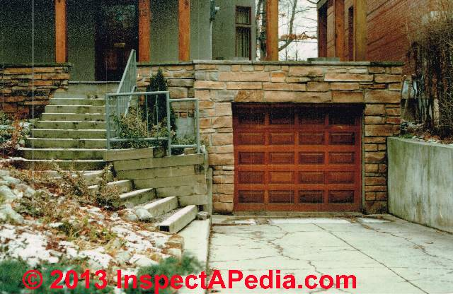 Basement Garage With In Slope Driveway Invites Basement Flooding (C)  InspectAPedia Carson