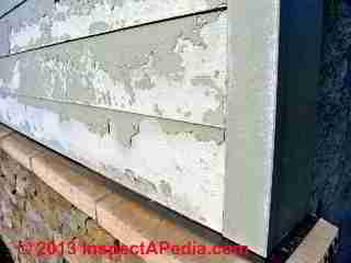 Paint failure on fiber cement siding (C) InspectAPedia Hugh Cairns BC
