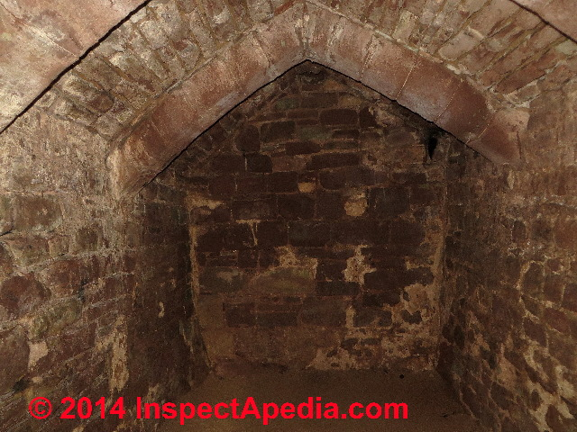 stains on brick dungeon goodrich castle ross on wye herefordshire england c
