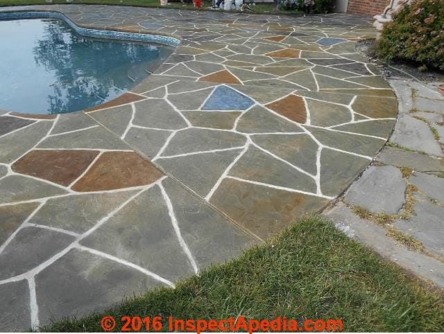 Stamped concrete patio walkway installation cleaning for Cleaning colored concrete