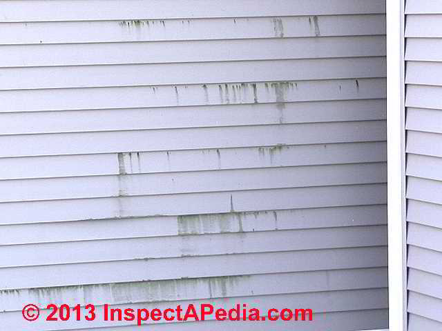 Causes of Vinyl Siding Stains, Algae, Lichens, Soot, Other Markings