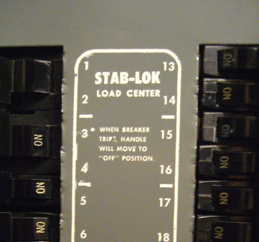 Federal Pacific Electric Fpe Stab Lok Panel Cover Markings