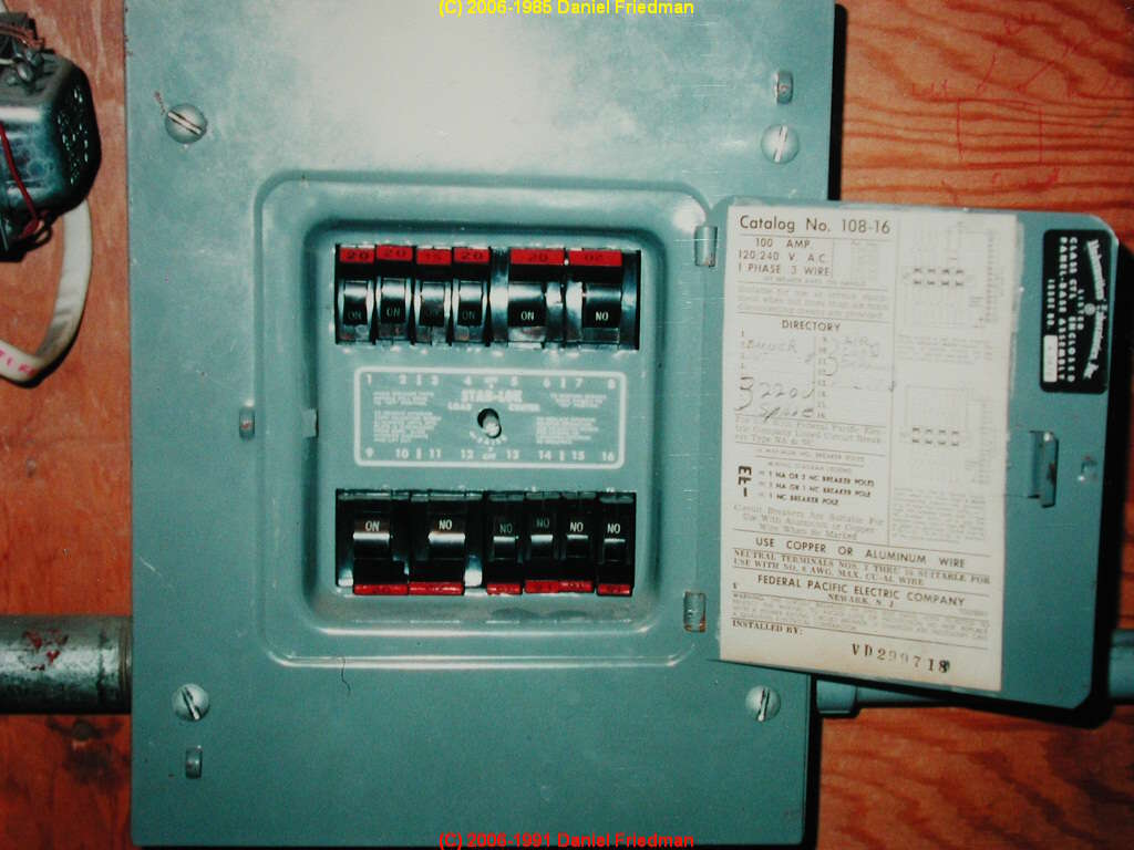 The Federal Pacific Electric Fpe Stab Lok Panel Circuit Breaker Electrical Box Wiring Harness Photo Of A Small With Labeling Visible