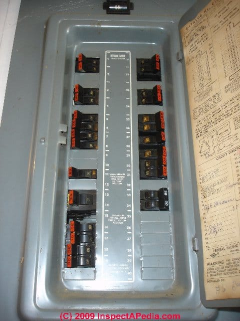 FPE PANEL DOOR LABELS - Help Identify Federal Pacific Electric FPE ...