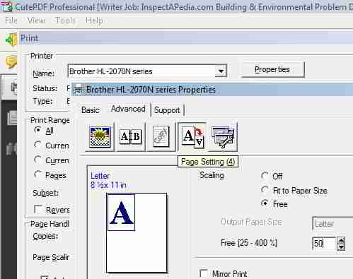 PDF print procedure to properly scale web page to paper size