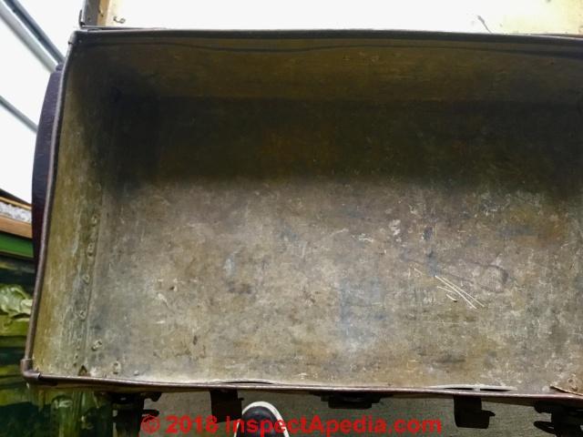 St C.c. Leather Storage Trunk Fine Very Old Vintage Industrial Steamer Army K