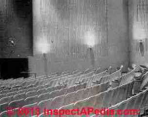 Asbestos cement corrugated decorative wallboards in a theater - Rosato (C) InspectApedia
