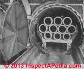Asbestos cement pipe being cured in an autoclave  - Rosato (C) InspectApedia