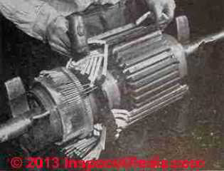 Installation of quinterra wrapped coils in an elctrical motor - asbestos electrical insulation - Rosato (C) InspectApedia