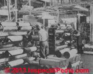 Asbestos roving being wound on jack spools after sheets leave carding machine - Rosato (C) InspectApedia