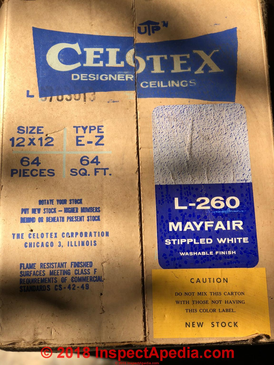 Celotex Insulating Products Believed To Contain Asbestos Or To Be