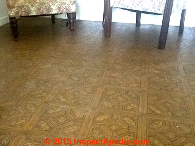 asbestos floor tiles, linoleum, sheet flooring: photo guide to