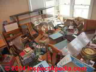 Hoarding behaviour photograph illustrates fire and building exit hazards from book hoarding © Daniel Friedman