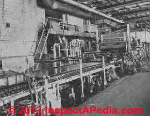 Fourdrinier paper machine adapted for manufacture of asbestos paper sheet gasketing material - Rosato Fig. 10.1 (C) InspectApedia.com