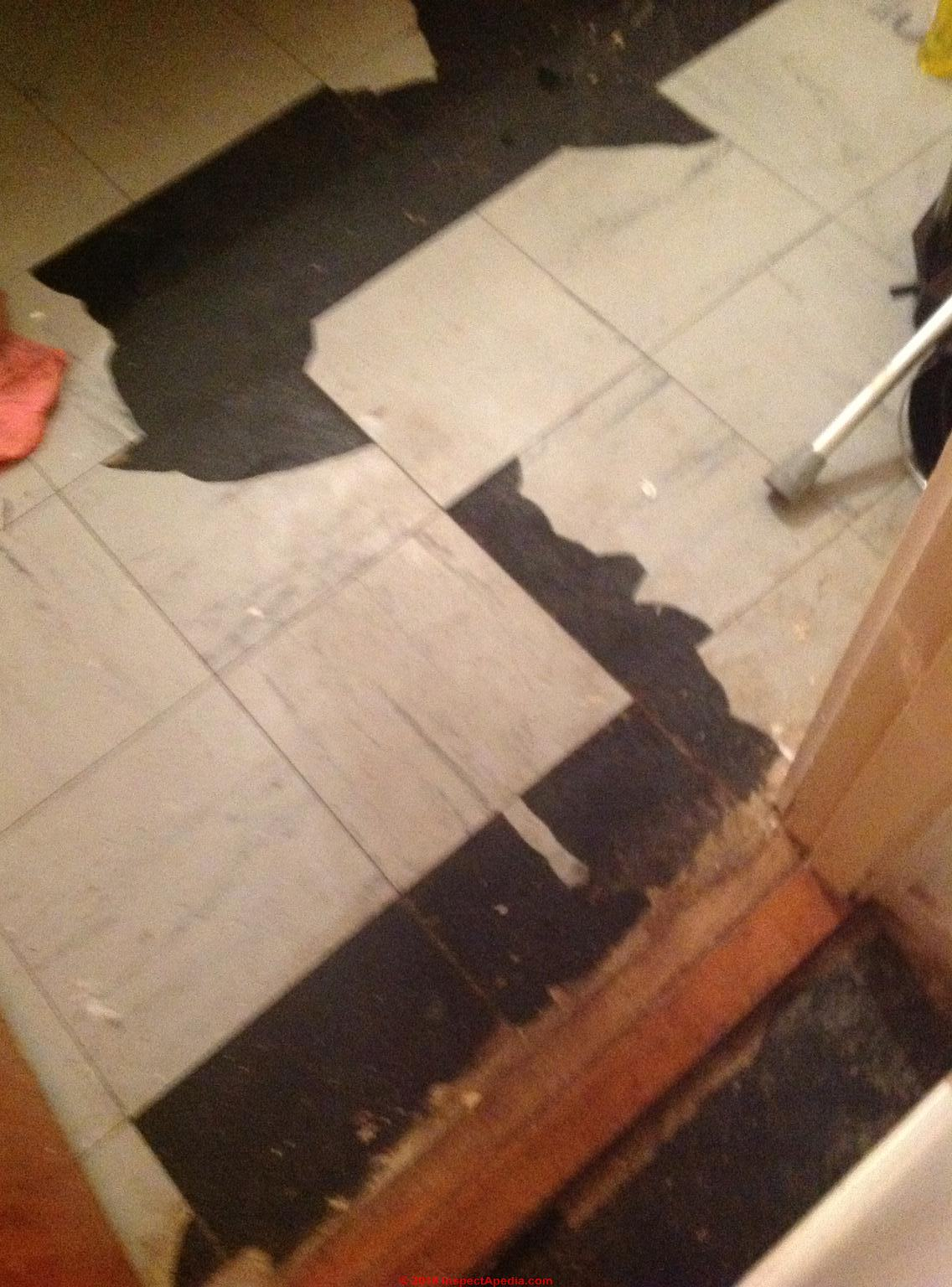Asbestos floor tile Southend by Sea UK Beresford Rd. (C) Inspectapedia.com