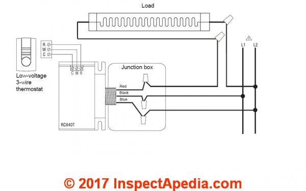 example wiring diagram for the aube rc840t switching relay for use with the  nest thermostat to