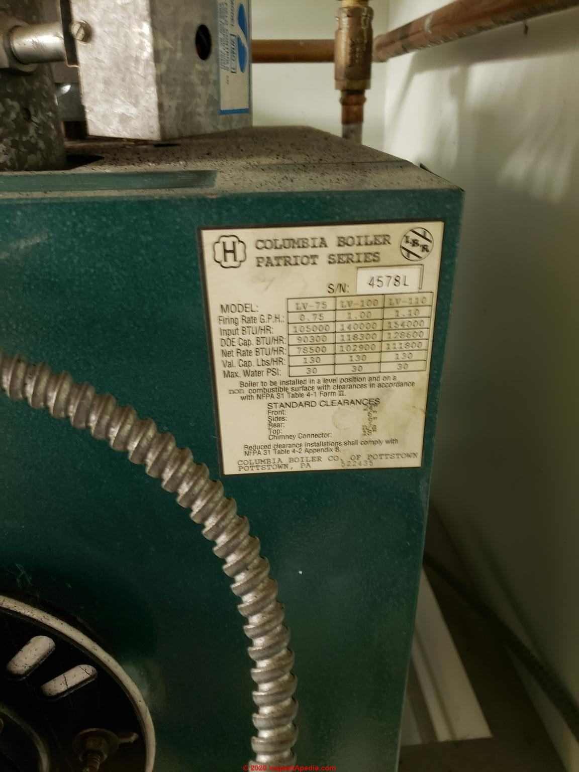 Columbia Boiler Manuals  Parts Lists  Age