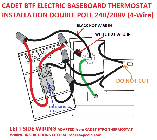 [DIAGRAM_38IU]  Line Voltage Thermostats for Heating & Cooling | Cadet Thermostat Wiring Diagram |  | InspectAPedia.com