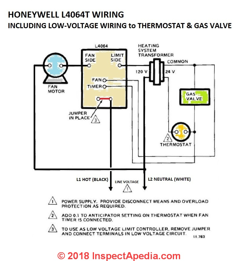 honeywell l4064b, l4064t fan limit control wiring including low voltage  wires ford a gas valve