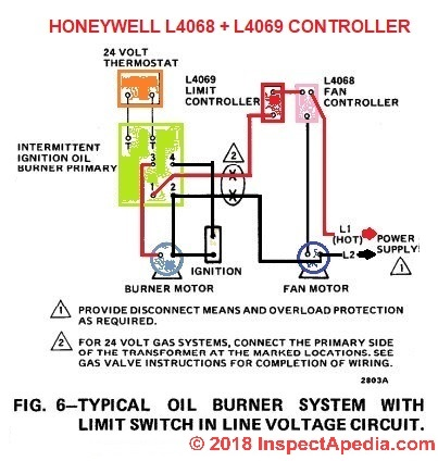 how to install \u0026 wire the fan \u0026 limit controls on furnaces honeywellhoneywell l4068 wiring diagram at inspectapedia com