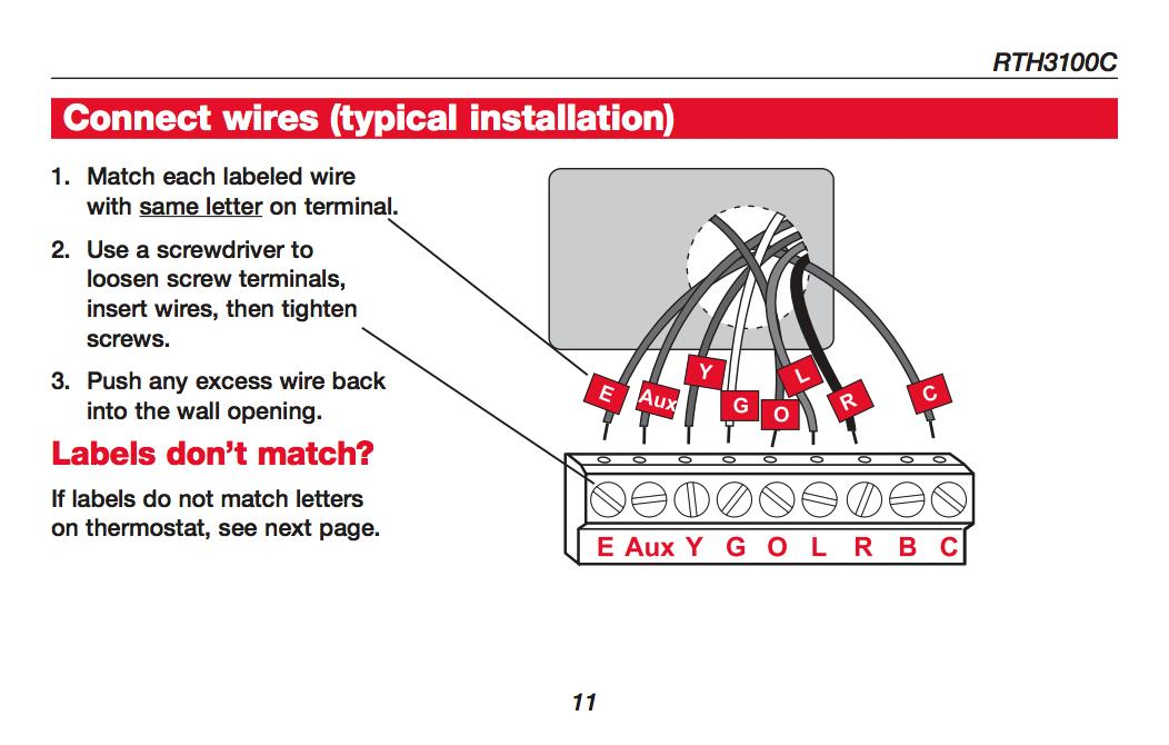 honeywell rth3100c thermostat wiring summary - see the installation manual  for details or call honeywell -