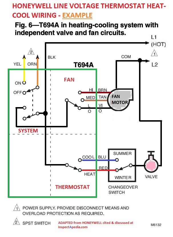 Double Pole 240 Volt Baseboard Heater Wiring Diagram from inspectapedia.com