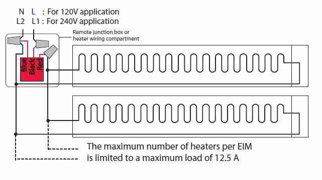 line voltage thermostats for heating & cooling electric baseboard heater wiring diagram honeywell econnect(tm) heater wiring detail