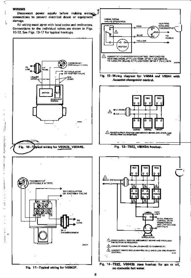 see this image for detailed wiring diagrams for honeywell zone valves  v8043a, v8043e, v8043f & t822